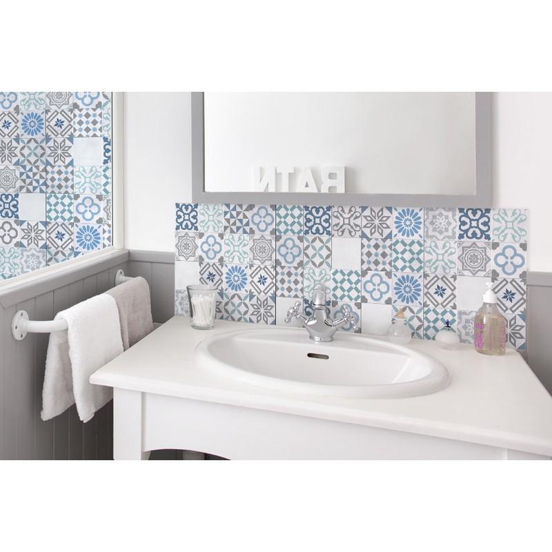 cr dence de lavabo carreaux de ciment turquoise. Black Bedroom Furniture Sets. Home Design Ideas