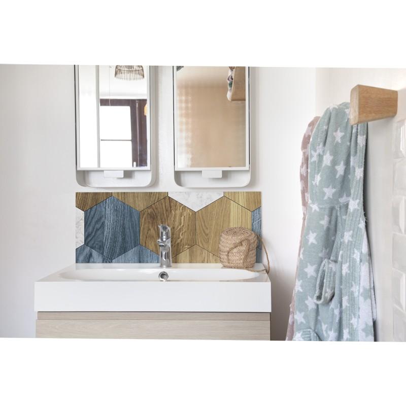 cr dence de lavabo hexagones patin s sur mesure rev tement lavabo vintage. Black Bedroom Furniture Sets. Home Design Ideas