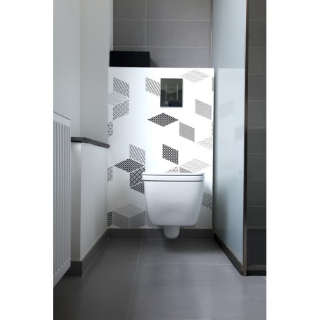 cr dence de wc graphic puzzle rev tement mural d coratif wc black white. Black Bedroom Furniture Sets. Home Design Ideas