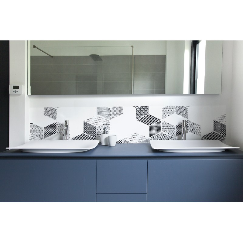 cr dence salle de bain de lavabo graphic puzzle sur mesure rev tement lavabo black white. Black Bedroom Furniture Sets. Home Design Ideas