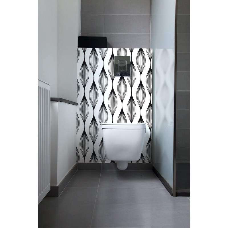 cr dence de wc carrelage salle de bain illusion rev tement mural salle de bain wc black white. Black Bedroom Furniture Sets. Home Design Ideas