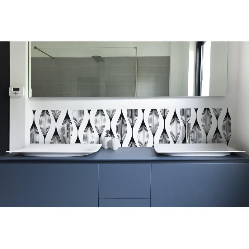cr dence de lavabo illusion rev tement salle de bain lavabo black white. Black Bedroom Furniture Sets. Home Design Ideas
