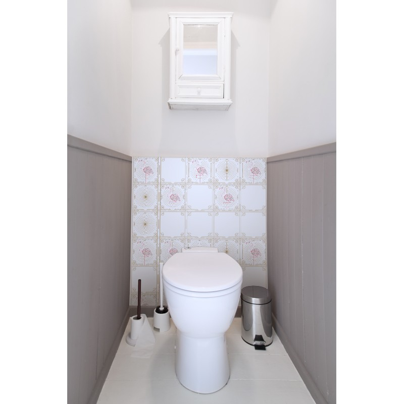 cr dence de wc white flamingo sur mesure rev tement mural wc style nature. Black Bedroom Furniture Sets. Home Design Ideas