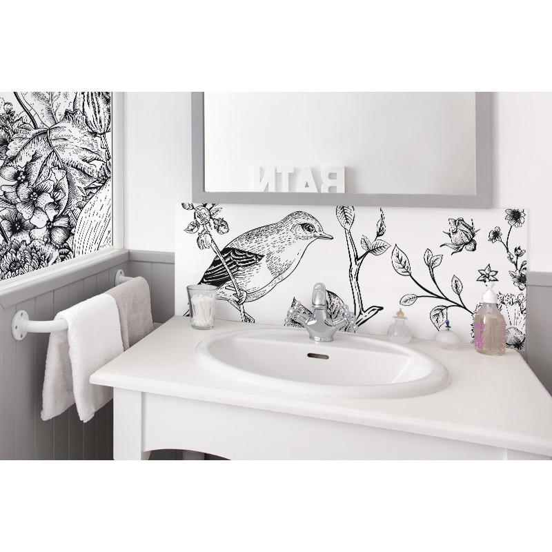 cr dence de lavabo japonisant sur mesure rev tement lavabo ambiance nature. Black Bedroom Furniture Sets. Home Design Ideas