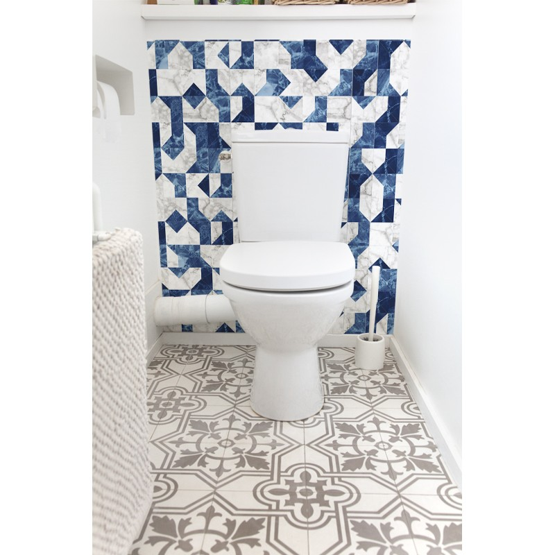 cr dence de wc bains grecs rev tement mural d coratif wc bleu ternel. Black Bedroom Furniture Sets. Home Design Ideas