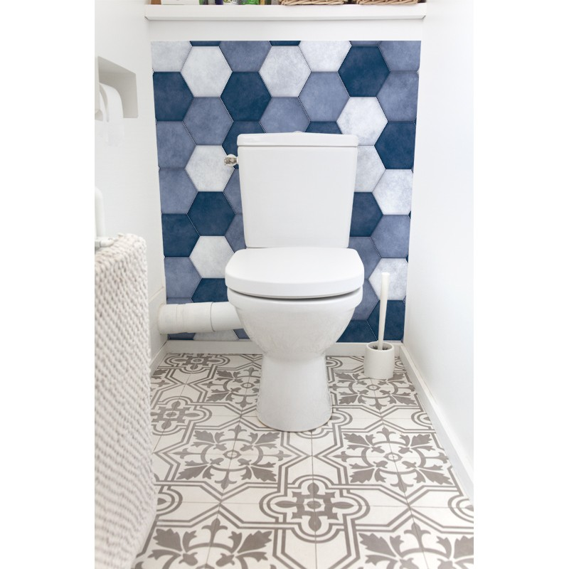 cr dence de wc hexagone bleu sur mesure rev tement mural wc style tendance. Black Bedroom Furniture Sets. Home Design Ideas