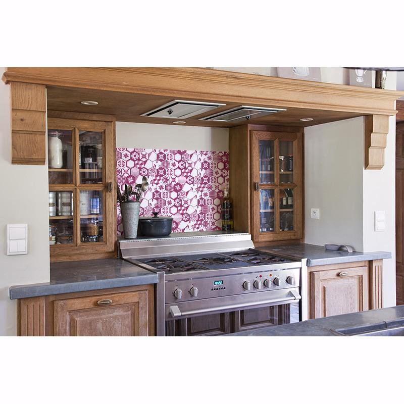 cr dence plan de travail tomettes violine sur mesure cr dence plan de travail style r tro. Black Bedroom Furniture Sets. Home Design Ideas