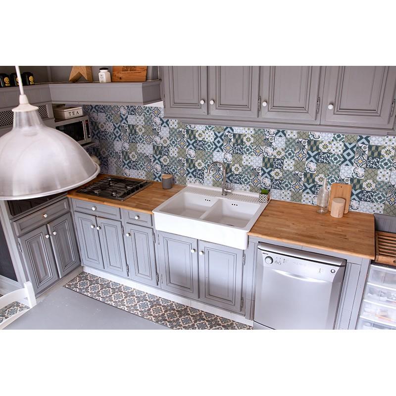 cr dence plan de travail carreaux de ciment marines sur mesure cr dence plan de travail. Black Bedroom Furniture Sets. Home Design Ideas