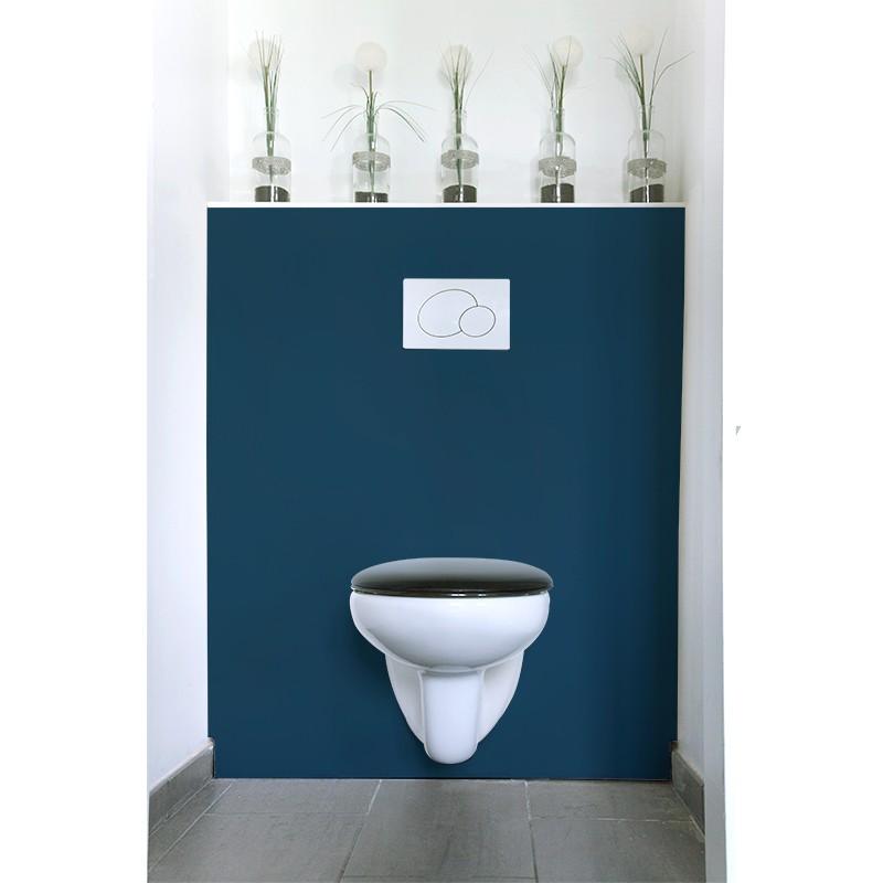 cr dence de wc bleu marine rev tement mural salle de bain wc uni. Black Bedroom Furniture Sets. Home Design Ideas