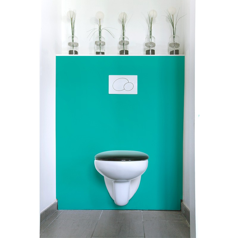 cr dence de wc turquoise sur mesure rev tement mural wc style uni. Black Bedroom Furniture Sets. Home Design Ideas