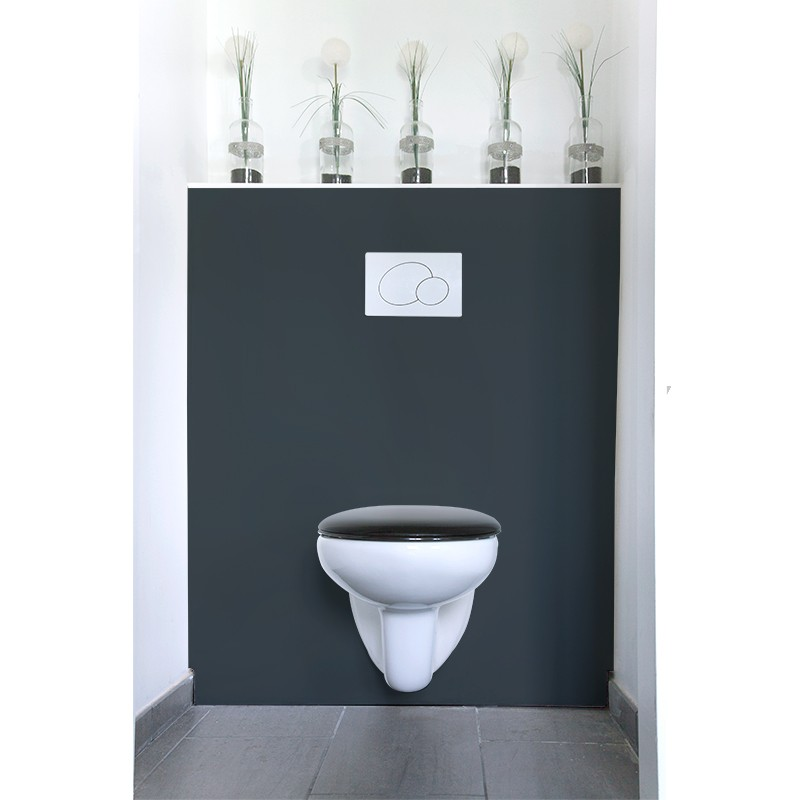 cr dence de wc gris fonc laqu sur mesure rev tement mural wc laqu. Black Bedroom Furniture Sets. Home Design Ideas