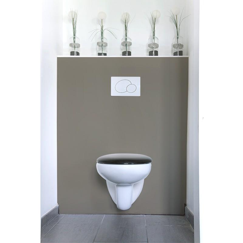 cr dence de wc salle de bain gris claire nacr sur mesure revetement mural wc laqu. Black Bedroom Furniture Sets. Home Design Ideas