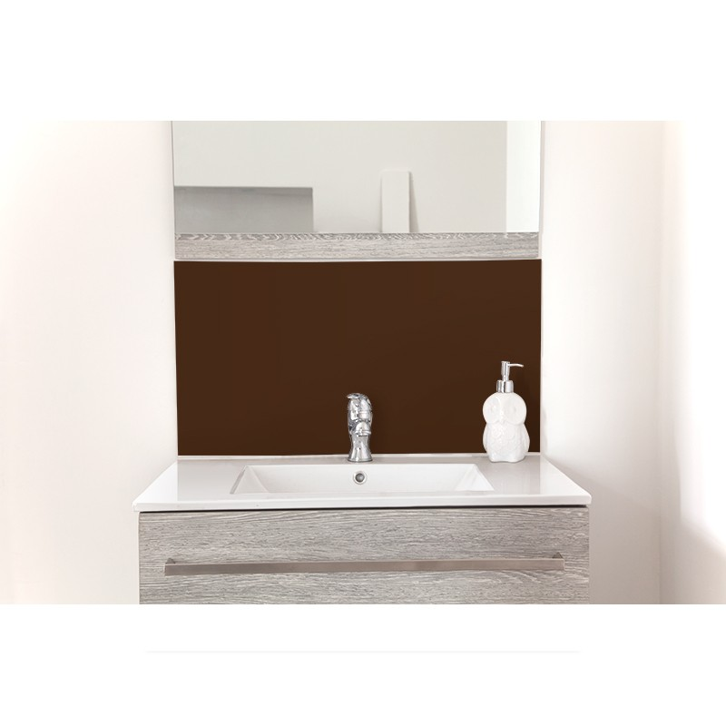 cr dence de lavabo chocolat laqu sur mesure rev tement lavabo laqu. Black Bedroom Furniture Sets. Home Design Ideas