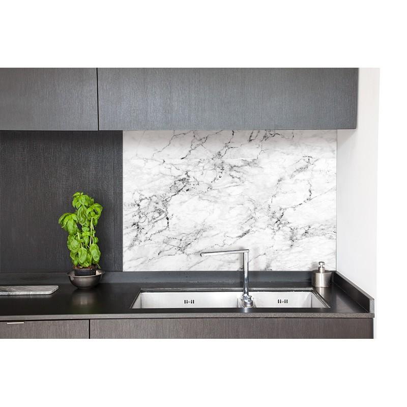 cr dence hotte marble effect white sur mesure cr dence hotte style bistro chic. Black Bedroom Furniture Sets. Home Design Ideas