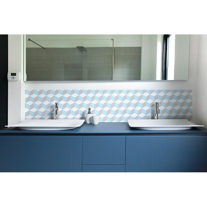 cr dence de lavabo 70 39 s pastel rev tement lavabo bleu ternel. Black Bedroom Furniture Sets. Home Design Ideas