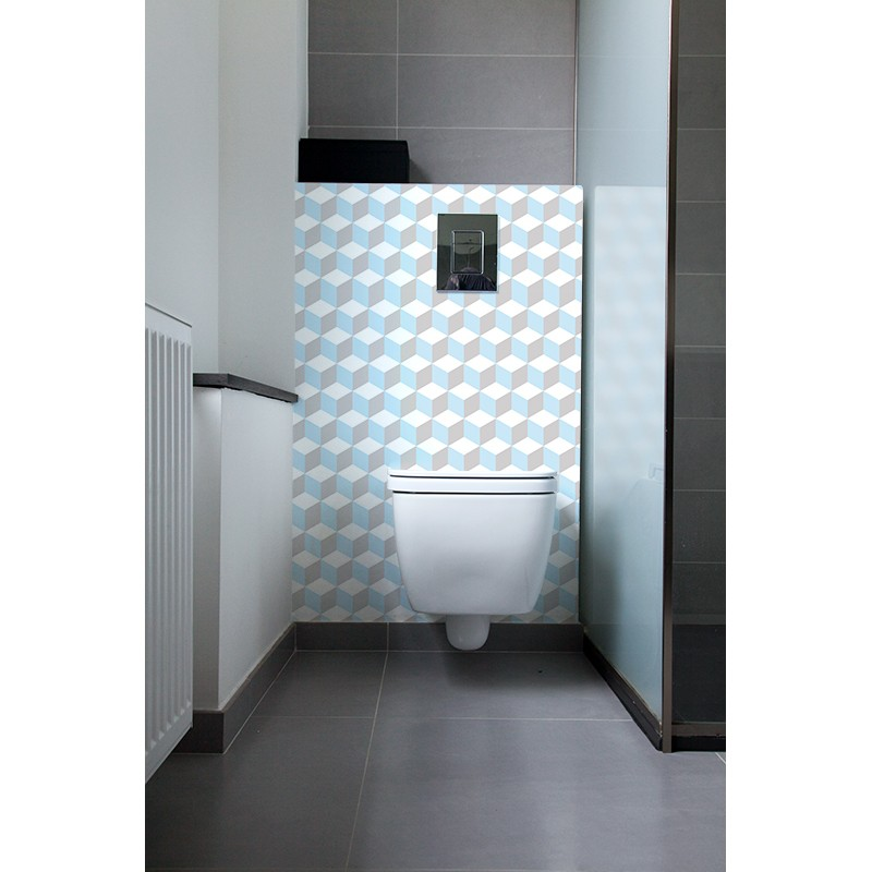 cr dence de wc 70 39 s pastel sur mesure revtement mural wc style bleu ternel. Black Bedroom Furniture Sets. Home Design Ideas