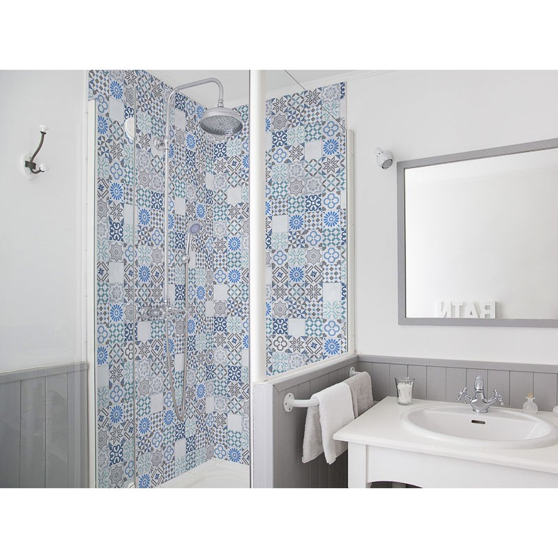 panneau de douche salle de bain turquoise salle de bain effet carrelage. Black Bedroom Furniture Sets. Home Design Ideas