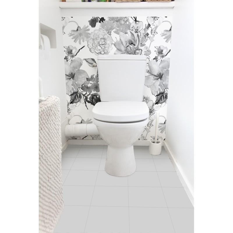 cr dence de wc fresque florale sur mesure rev tement mural wc style nature. Black Bedroom Furniture Sets. Home Design Ideas