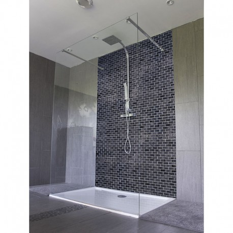 panneau de douche carrelage noir salle de bain italienne black and white. Black Bedroom Furniture Sets. Home Design Ideas