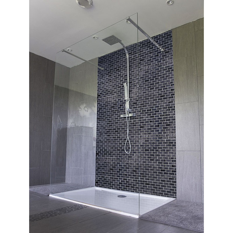 panneau de douche carrelage noir salle de bain italienne. Black Bedroom Furniture Sets. Home Design Ideas