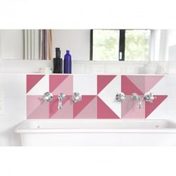 Crédence lavabo Patchwork suédois rose