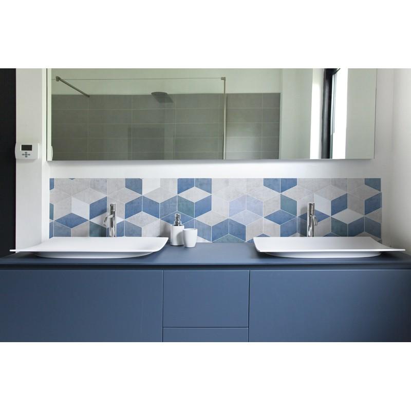 Crédence Salle De Bain Scandinave Bleu Grisé