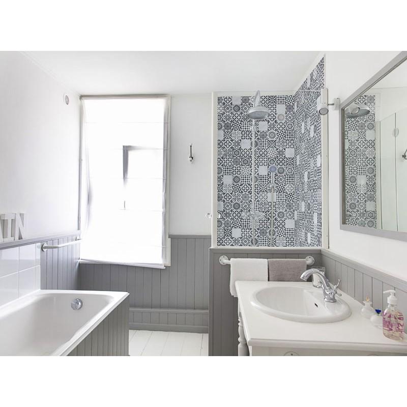 Panneau de douche d coratif carreau de ciment gris - Carreau de ciment salle de bain ...