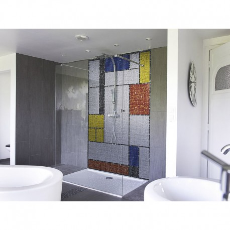 panneau de douche salle de bain mondrian mosaique panneau de douche piet mondrian vintage. Black Bedroom Furniture Sets. Home Design Ideas