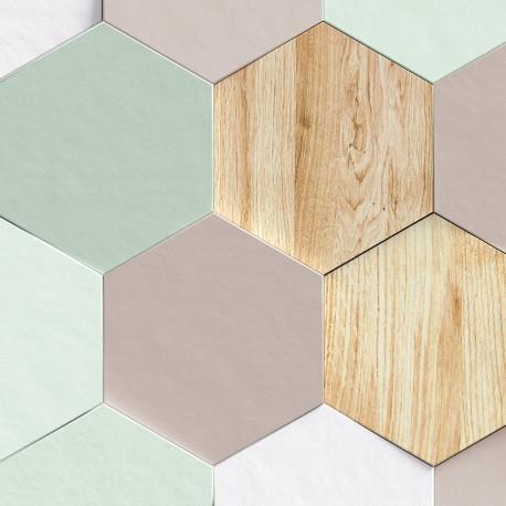 Hexagones pastels - sur mesure