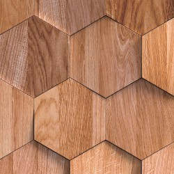 Hexagones bois naturel