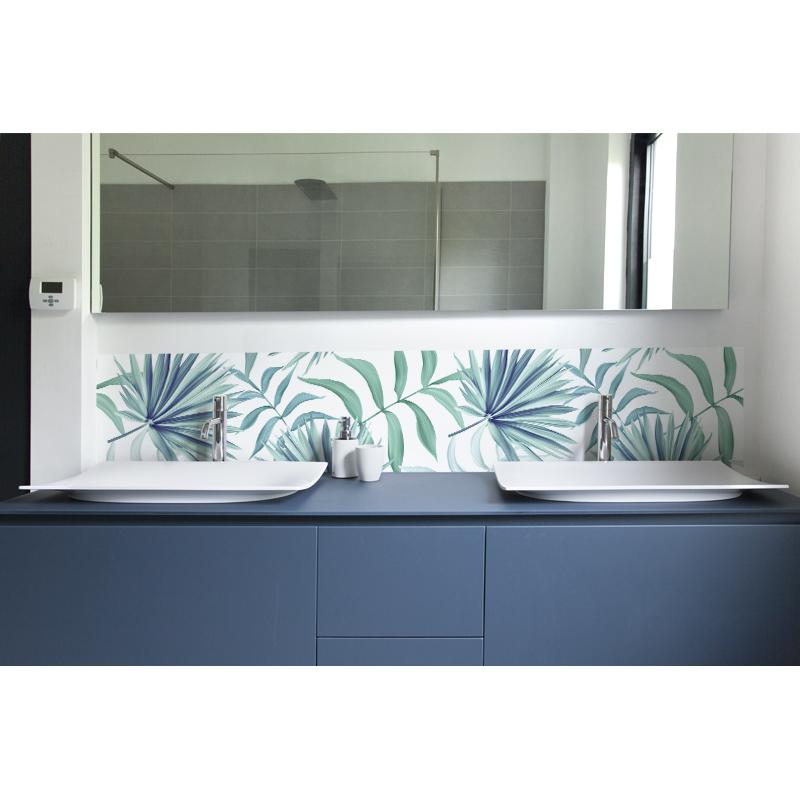 crédence lavabo feuillage vert pastal